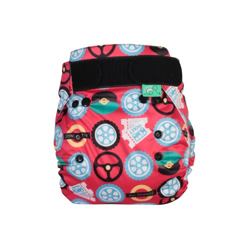 TotsBots PeeNut Wrap Reusable Nappy Wheels on the Bus front