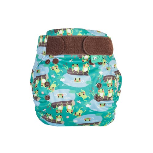 TotsBots PeeNut Wrap Reusable Nappy Five Little Speckled Frogs front
