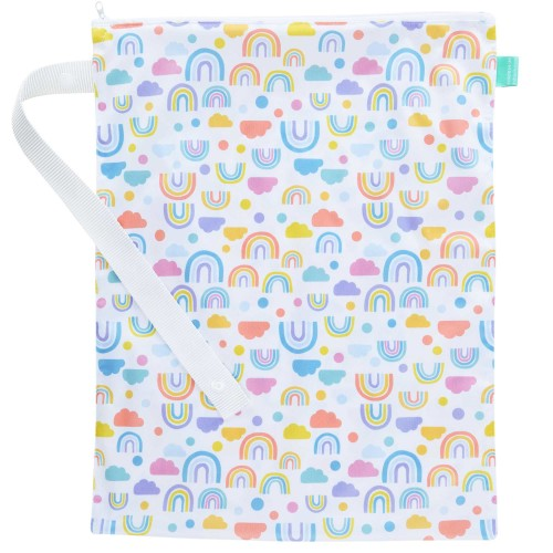 Waterproof nappy bag from TotsBots in pastel rainbow, cloud and dotty print