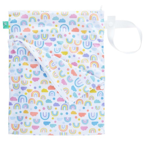 Wet and dry nappy bag from TotsBots in pastel rainbow, cloud and dotty print