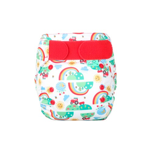 TotsBots reusable nappy Frugi print Happy Days