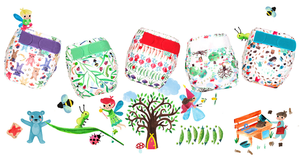 TotsBots Reusable Nappies Magic Garden Prints