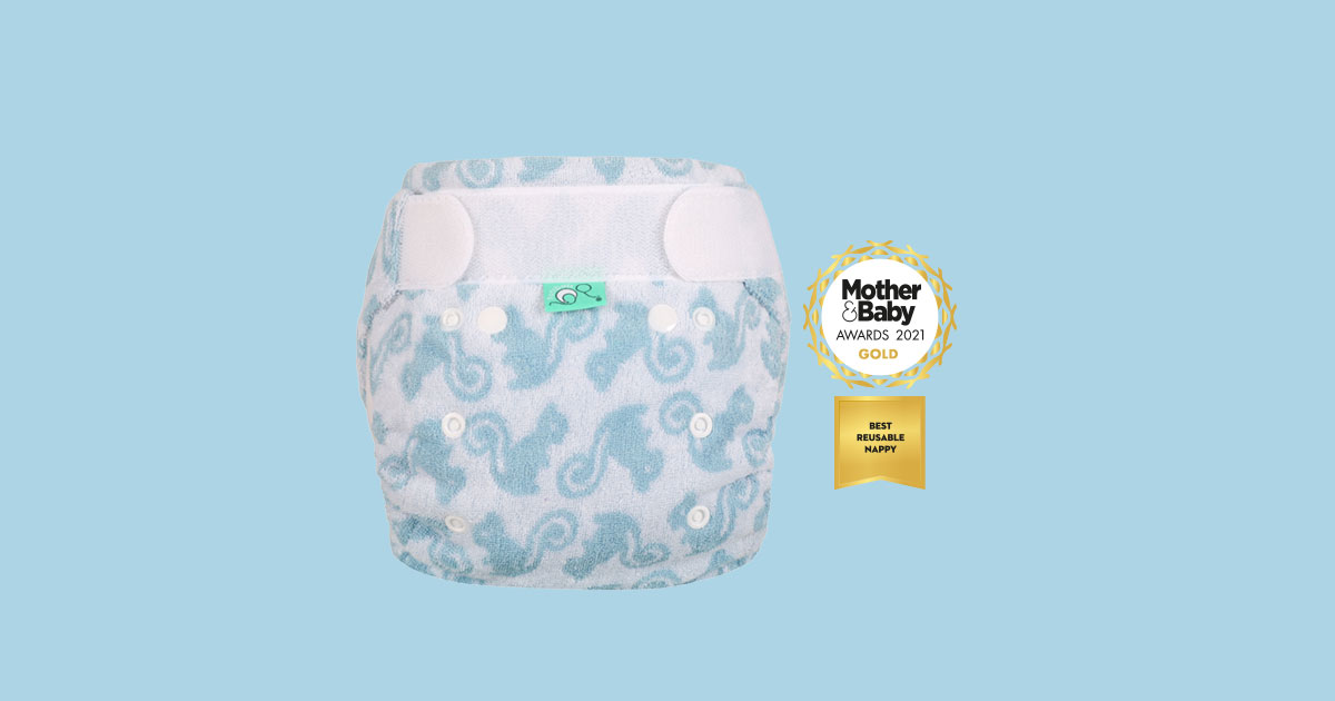 Bamboozle bamboo nappy with Mother & Baby 2021 Best Nappy award logo