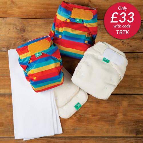 TotsBots Reusable Nappies Trial Kit - Rainbow Stripe