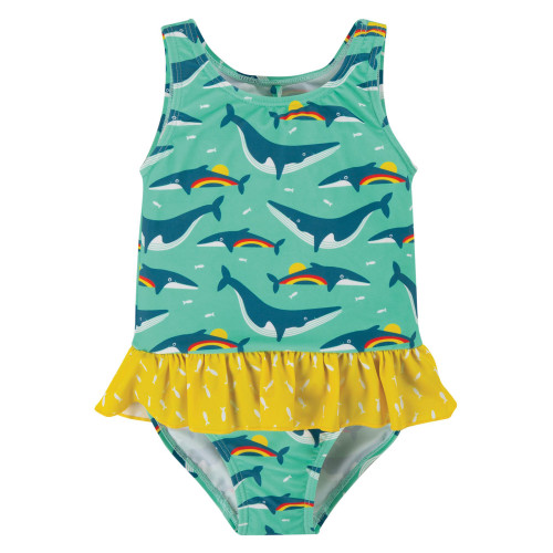 TotsBots - Frugi organic swimwear - Little coral swimsuit - rainbow whales