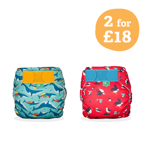 TotsBots Reusable Swim Nappy Kit 3 [Puffling Paddle & Rainbow Whale]