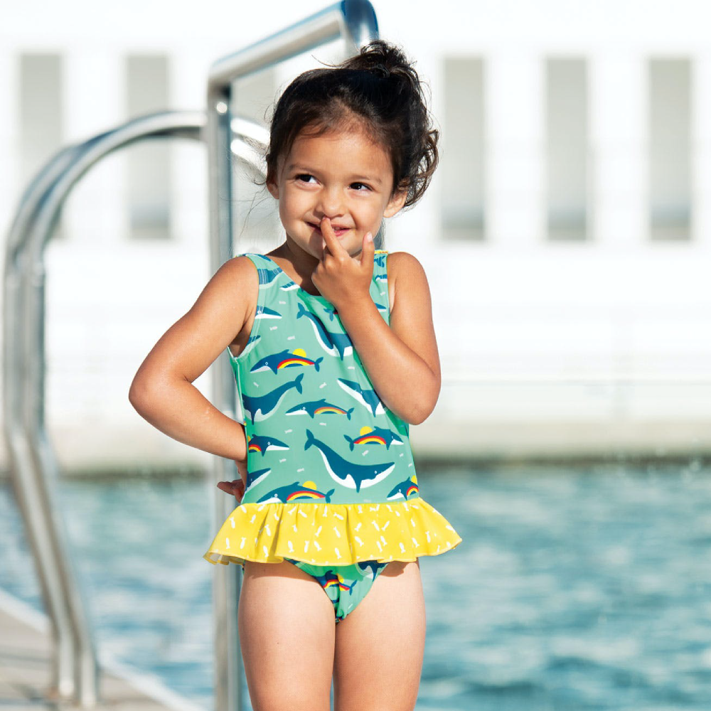 Frugi Little Coral Swimsuit - Rainbow Whales