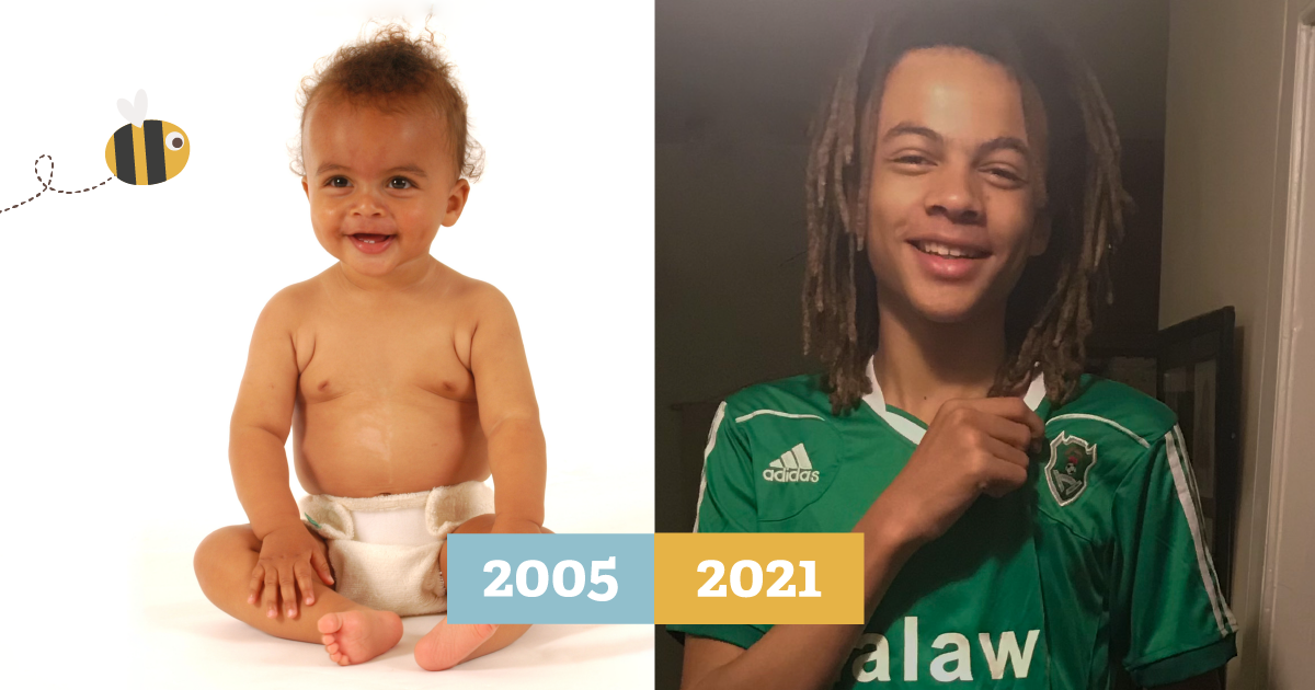 Side by side of a baby in a cloth nappy in 2005 then grown up in a green football top in 2021