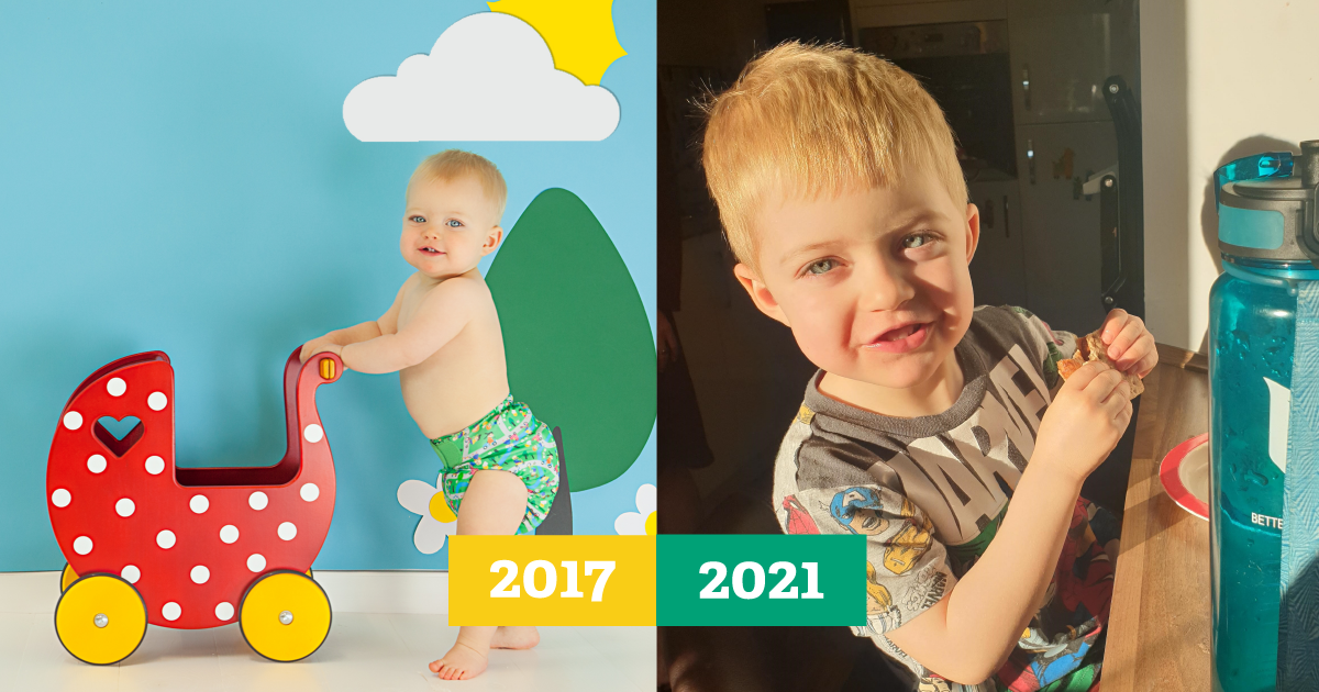 Then-and-now image of a baby boy in a cloth nappy beside an image of him at 4 years old smiling into the camera