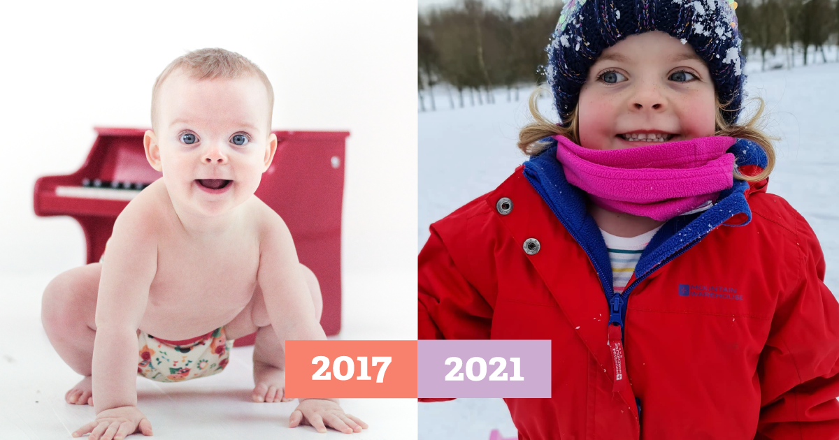 then-and-now image of baby girl crawling in a cloth nappy beside photo of her at 4 years old smiling in the snow